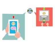 Übergeben Sie klopfendes intelligentes Telefon mit Bankwesenzahlungs-APP Lizenzfreie Stockfotos