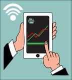 Übergeben Sie klopfendes intelligentes Telefon mit Bankwesenzahlungs-APP Stockbilder