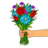 Übergeben Sie mit Blumenpop-arten-Vektorillustration Lizenzfreie Stockbilder