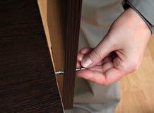 Übergeben Sie Schrauben in einer Lochspanplatte, Möbelversammlung manuell Lizenzfreies Stockbild