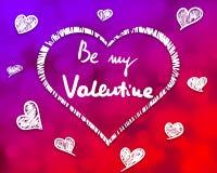 Übergeben Sie Skizze des Herzens mit ist meine Valentinsgrußbeschriftung nach innen Stockbild