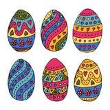 Übergeben Sie skizzierte Ostereier als Ostern-Ausweise und -ikonen Stockbild