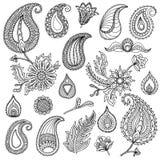 Übergeben Sie skizzierte Vektorweinleseelemente wie Blätter, Blumen, Strudel gewebe Vervollkommnen Sie für Einladungen, Grußkarte Lizenzfreie Stockfotografie
