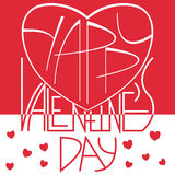 Übergeben Sie skizziertes Valentinstagfirmenzeichen, -ausweis und -ikone Lizenzfreie Stockfotografie