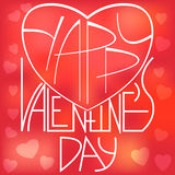 Übergeben Sie skizziertes Valentinstagfirmenzeichen, -ausweis und -ikone Stock Abbildung