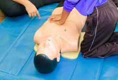 Übergeben Sie Student Heart-Pumpe mit medizinischer Attrappe auf CPR, in der Notweiterbildung zur Vorlage des Arztes lizenzfreies stockbild