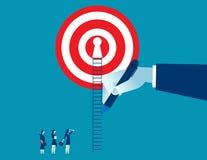 Übergeben Sie Weise des abgehobenen Betrages oben für Geschäftsfrau zum Erfolg Lizenzfreie Stockbilder