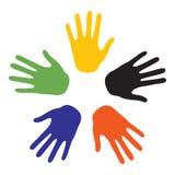 Übergeben Sie Zeichen mit den Farben der fünf Kontinente stock abbildung