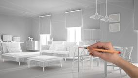 Übergeben Sie zeichnender abstrakter Architektur Innenprojektplanung, modernes Wohnzimmer, wireframe highpoly Maschenbau, weißes  lizenzfreie stockfotos