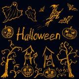Übergeben Sie zeichnendes Halloween-Schattenbild wie Kinder gezeichnetes lustiges Horrorsymbol lizenzfreie abbildung