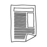Übergeben Sie Zeichnung des Papierblatttextes und -graphiken lizenzfreie abbildung