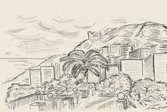 Übergeben Sie Zeichnung eines Berges und der Mittelmeerlandschaft durch das Meer Vektortintenskizze in der Weinleseart Lizenzfreie Stockfotos
