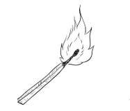 Übergeben Sie Zeichnung Feuer brennenden Matches - Vector gezogene Illustration Lizenzfreie Stockbilder