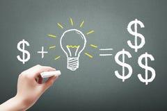 Übergeben Sie Zeichnung mit Kreidegeld plus Ideenkonzept lizenzfreie stockfotografie