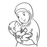 Übergeben Sie Zeichnung Mutter und Sohn - Vector Illustration Lizenzfreie Stockfotos
