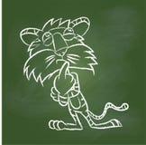Übergeben Sie Zeichnung Tiger auf grünem Brett - Vector Illustration Lizenzfreie Stockbilder