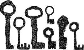 Übergeben Sie Zeichnungen des Satzes der mittelalterlichen Schlüssel Stockfoto