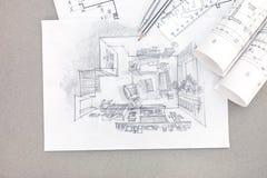 Übergeben Sie Zeichnungsillustration des Wohnzimmerinnenraums mit Plan Lizenzfreie Stockfotografie