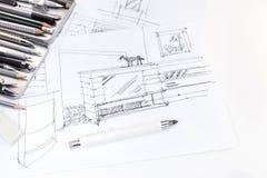 Übergeben Sie Zeichnungsskizze des Innenraums und der Möbel für Wohnzimmer wi Stockfotos