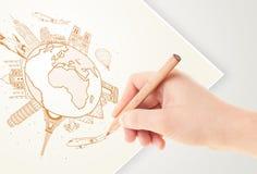 Übergeben Sie Zeichnungsurlaubsreise um die Erde mit Marksteinen und c Stockfotografie