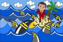 Übergebenes Steuerhinterzieher-Steueroase-Haifisch-Polizei-Team Stockfoto