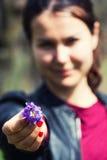 Übergebung des kleinen Blumenstraußes Stockbilder