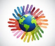 übergibt internationale Verschiedenartigkeitsfarben lizenzfreie abbildung