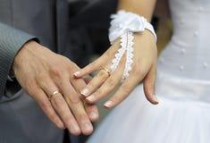 Übergibt Jungvermählten mit Eheringen stockbild