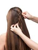 Übergibt parekmahera geflochtenen Zopf für das lange Haar, das auf Weiß lokalisiert wird stockfotos