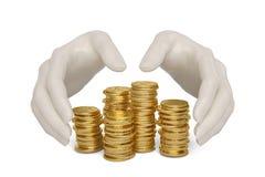 Übergibt schützende Goldmünzen auf einem weißen Hintergrund, illustratio 3D vektor abbildung