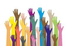 Übergibt verschiedene Farben kulturelle ethnische Vielfalt Stockfoto