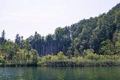 Überholen Sie Ansicht eines großen Wasserfalls hinter Gebüsche, im Plitvice See-Nationalpark, in Kroatien stockbilder