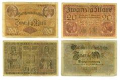 Überholte deutsche Banknoten herausgeschnitten Stockfotografie