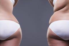 Überladene Frau mit den fetten Beinen und den Hinterteilen, vorher nach Konzept, weiblicher Körper der Korpulenz, hintere Ansicht lizenzfreie stockfotos