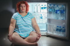 Überladene Frau mit Kühlschrank Stockfotografie