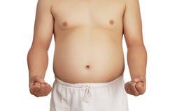 Überladener Mann mit dem großen Bauch. Lizenzfreies Stockbild