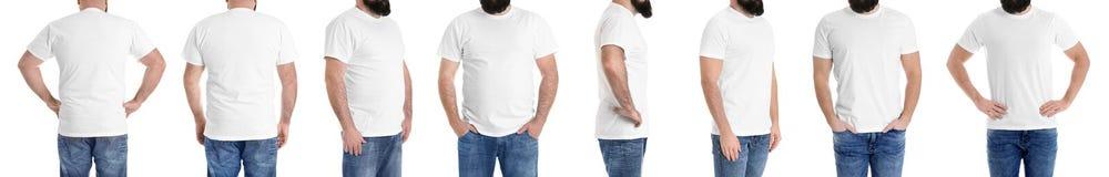 Überladener Mann vor und nach Gewichtsverlust auf weißem Hintergrund lizenzfreies stockfoto