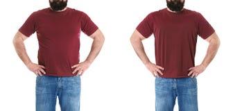 Überladener Mann vor und nach Gewichtsverlust auf weißem Hintergrund lizenzfreie stockbilder