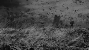 Überlebender Mann geht die Hügel gegen den Hintergrund einer ruinierten Stadt lizenzfreie abbildung
