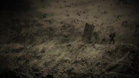 Überlebender Mann geht die Hügel gegen den Hintergrund einer ruinierten Stadt Zombieapocalypseanimation vektor abbildung
