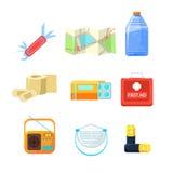 Überlebensnotausrüstung für Evakuierung, Einzelteil-aktiver Rest-Vektor-Illustrations-Satz Stockbilder