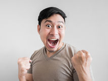 Übermäßig Schock- und Überraschungsgesicht des Mannes Lizenzfreie Stockbilder