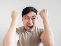 Übermäßig Schock- und Überraschungsgesicht des Mannes Lizenzfreies Stockbild