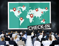 Überprüfen Sie herein Reise-Standort-globales Welttournee-Konzept Stockfoto