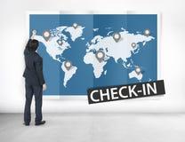 Überprüfen Sie herein Reise-Standort-globales Welttournee-Konzept Stockbild