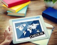 Überprüfen Sie herein Reise-Standort-globales Welttournee-Konzept Lizenzfreie Stockfotos