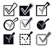 Überprüfen Sie Mark Icons, Vektor-Illustration Stockfotografie