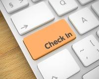 Überprüfen Sie in- Text auf orange Tastatur-Knopf 3d Stockbilder