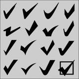 Überprüfen Sie Zeichen- und Zeckenzeichensatz Stockbild