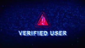Überprüfte Benutzer-Text-Digital-Geräusch-Zuckungs-Störschub-Verzerrungs-Effekt-Fehler-Animation lizenzfreie abbildung